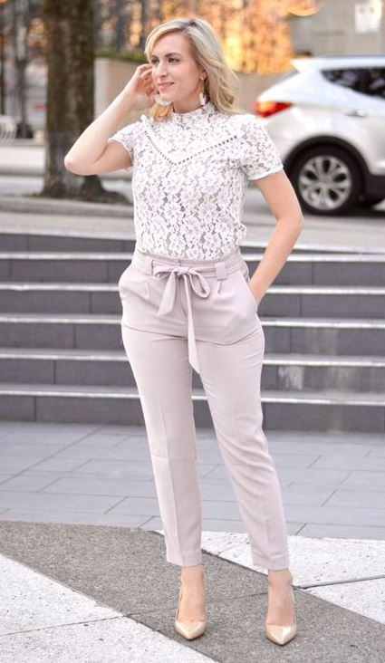 TIE WAIST PANTS & A CREAM LACE TOP