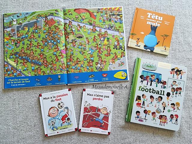 || Nos activités sur le football : Livres Mini-Loup Cherche et Trouve, Têtu comme une mule, Le football, Max à la passion du foot, Max n'aime pas perdre