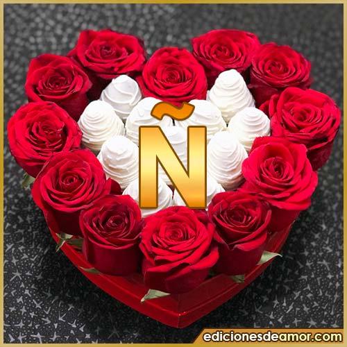 corazón de rosas rojas Ñ