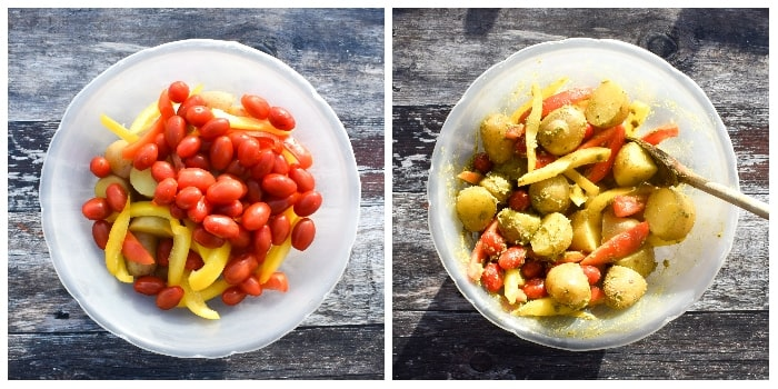 Mediterranean Potato Bake - Step 2 - tomatoes and dressing added