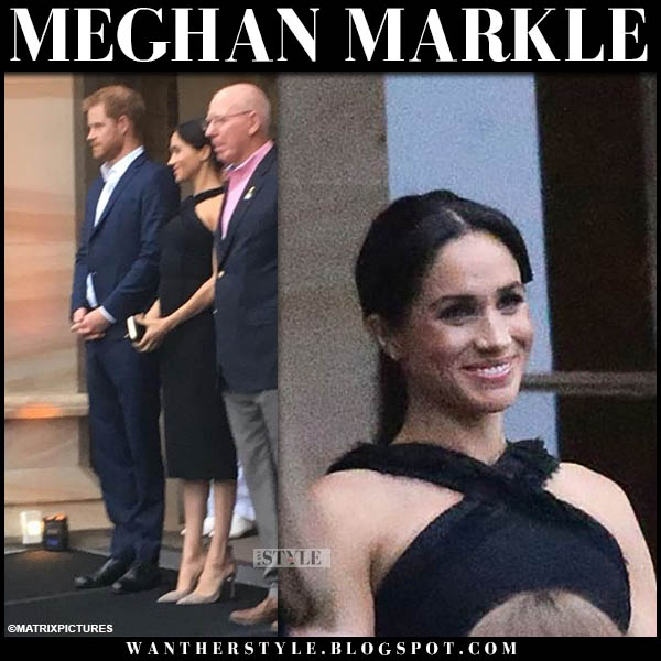 Meghan Markle in black fitted crossover neck jason wu dress invictus garden party royal tour style october 21