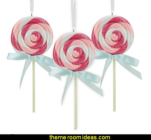Pink and White Glitter Twist Lollipop With Blue Bow Christmas Ornament