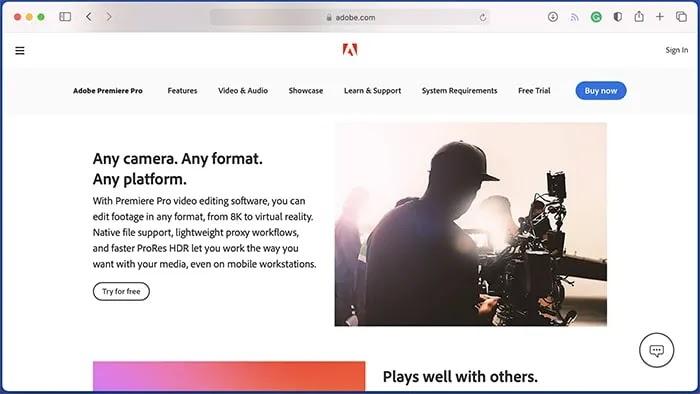 أفضل برامج تحرير الفيديو لنظام التشغيل Mac Adobe Premiere Pro