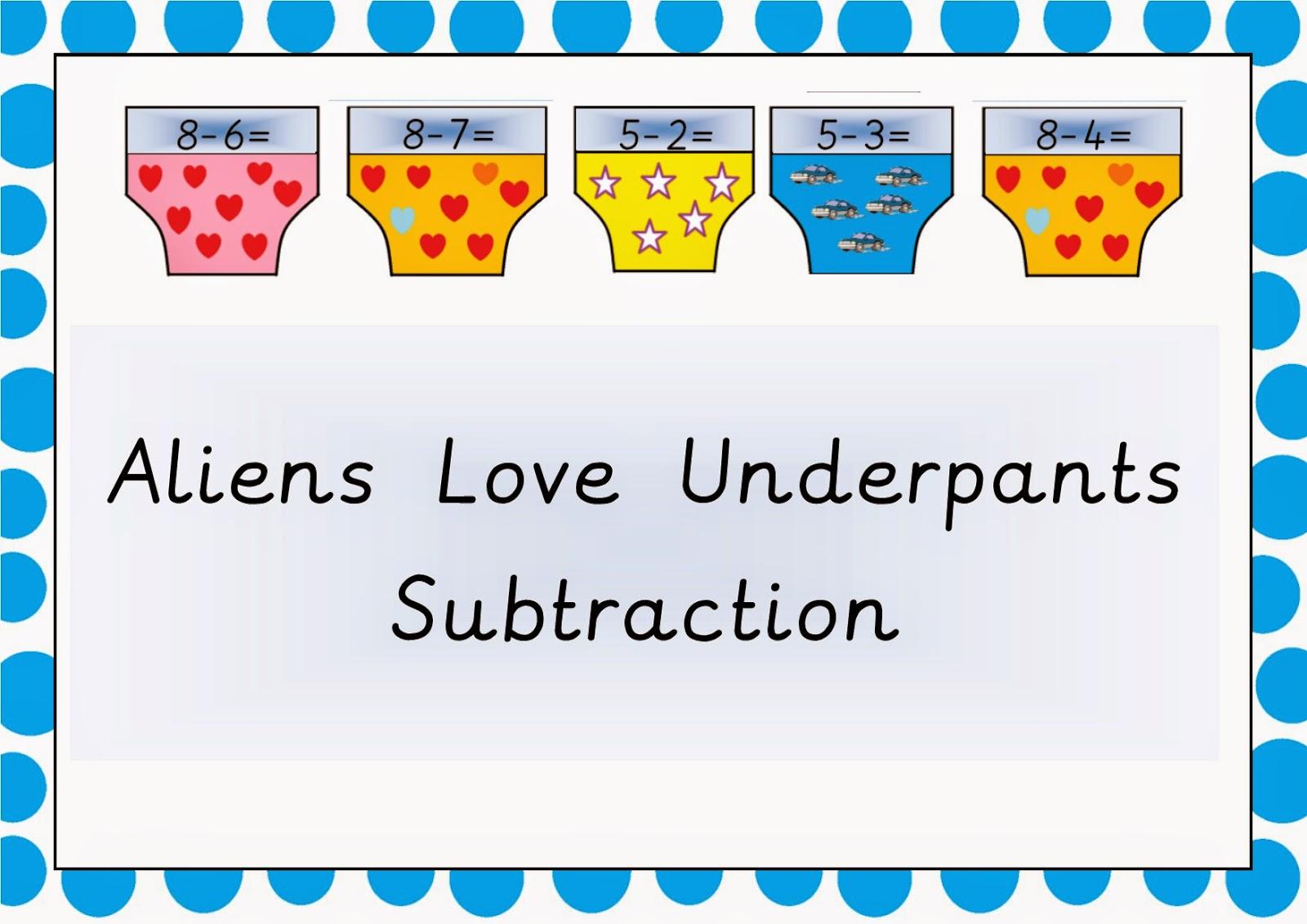Aliens Love Underpants Subtraction Underpants Free Teaching Resource