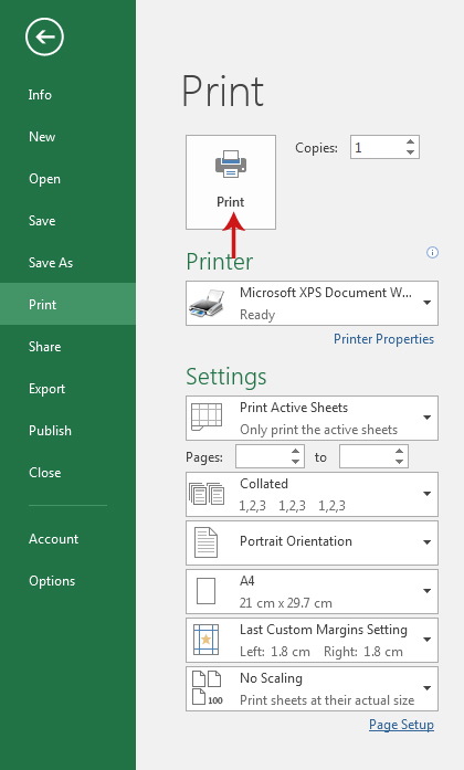 طباعة البيانات في منتصف الصفحة في برنامج Excel