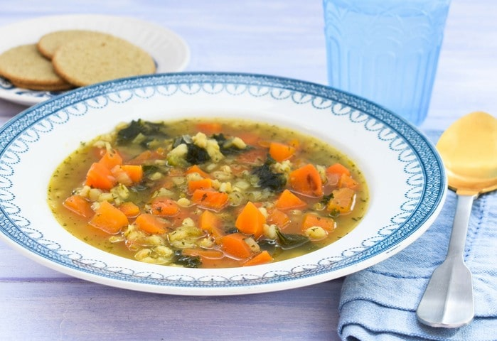 Vegan Scotch Broth with barley and kale
