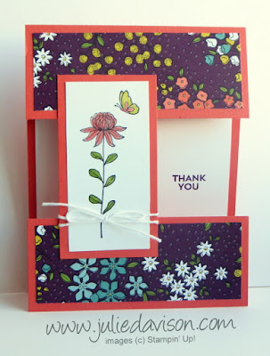 Stampin' Up! Sale-a-bration 2016 Flowering Fields Thank You Card with Wildflower Fields DSP #stampinup #saleabration www.juliedavison.com