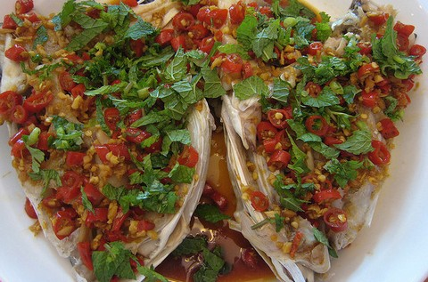 Spicy Fish Head with Peppers and Mint