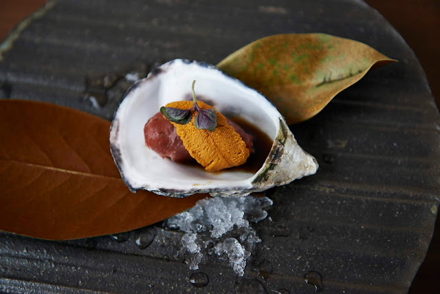 image of Kumamoto Oyster Wrapped with Washyugyu and California Sea Urchin by Naoko Takagi