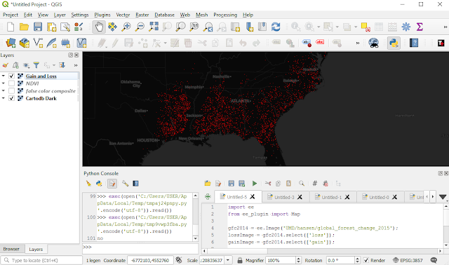 Quantifying forest change QGIS Google Earth Engine