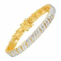 "1/2 ct Diamond 'S' Link Bracelet in 18K Gold-Plated Bronze, 7.5"""