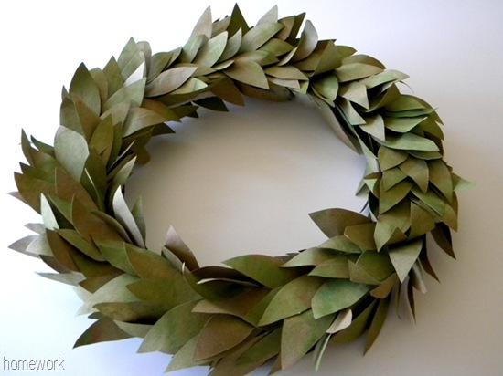 Upcyclying a Brown Bag Faux Bay Leaf Wreath