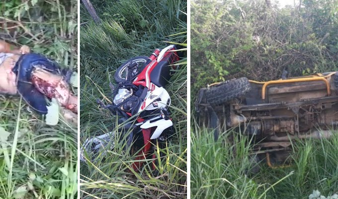 TRAGÉDIA: Três jovens morrem em violento acidente entre Jeep e motocicletas