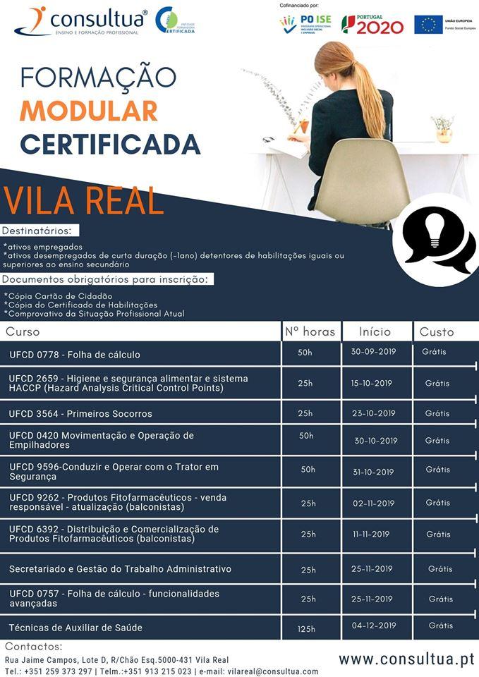 Vila Real – Formação modular para empregados e desempregados (Outubro/Dezembro/2019)