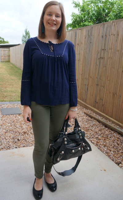 Jeanswest chana long sleeve stud blouse in night sky navy with olive green skinny pants for spring office outfit   away from blue