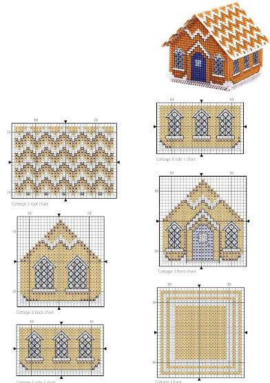 Cross Stitch  pattern free-Gingerbread House