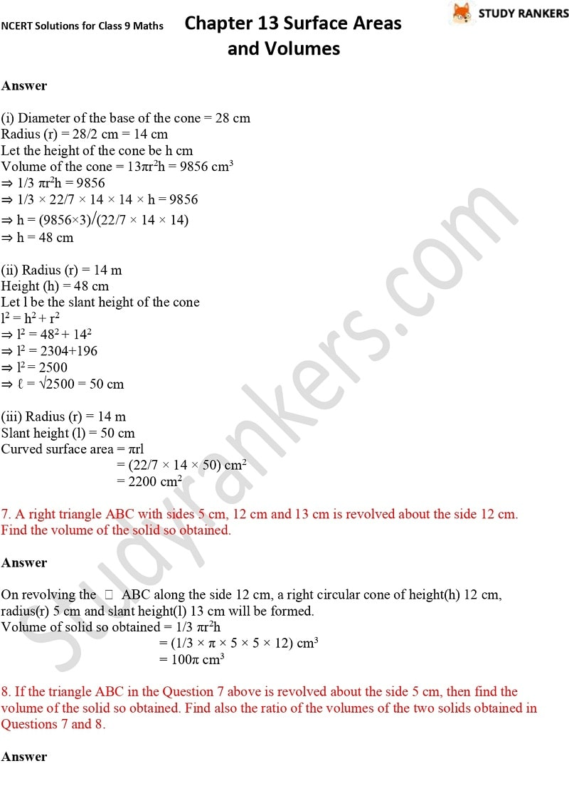 NCERT Solutions for Class 9 Maths Chapter 13 Surface Areas and Volumes Part 20