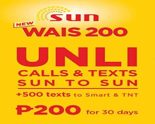 Sun Cellular WAIS 200 – 30 Days Unli Call and Text for 200 Pesos