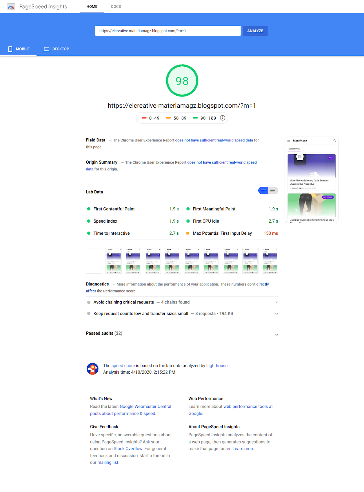 Score Mobile di Google PageSpeed Insight