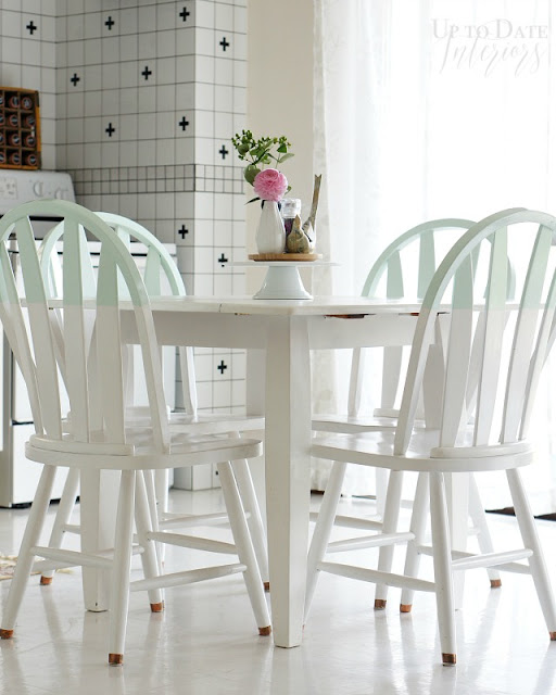 """""""dipped"""" painted kitchen set"""