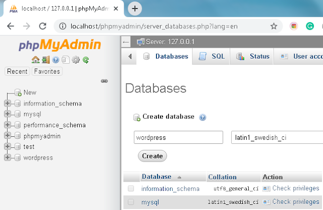 Create database for WordPress website in phpMyAdmin