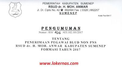 Penerimaan Pegawai BLUD Non PNS RSUD dr.H.Moh Anwar Kabupaten Sumenep Tahun 2017