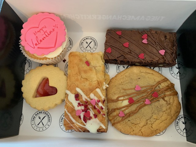 Valentine's box of cakes and biscuits