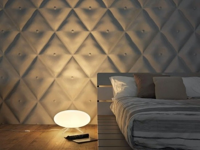 creative bedroom design with 3D decorative wall panels