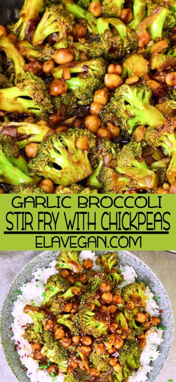THE BEST GARLIC BROCCOLI STIR FRY WITH CHICKPEAS | FLAVORFUL RECIPE