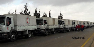 Five-truck aid convoy delivered to Kanaker town near Damascus