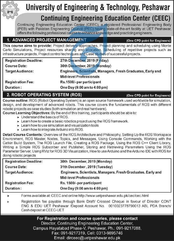 Jobs in University of Engineering and Technology UET Peshawar 2019