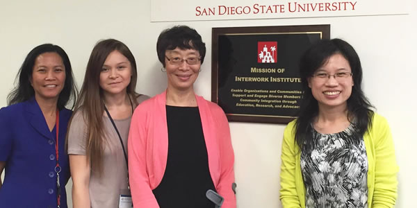 From left: Dr. Mari Guillermo (Interwork), Stephany Rodriguez (Rehabilitation Counseling graduate May 2016), Dr. Hampton, and Dr. Lin