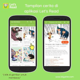 user interface aplikasi lets read perpustkaan digital cerita anak