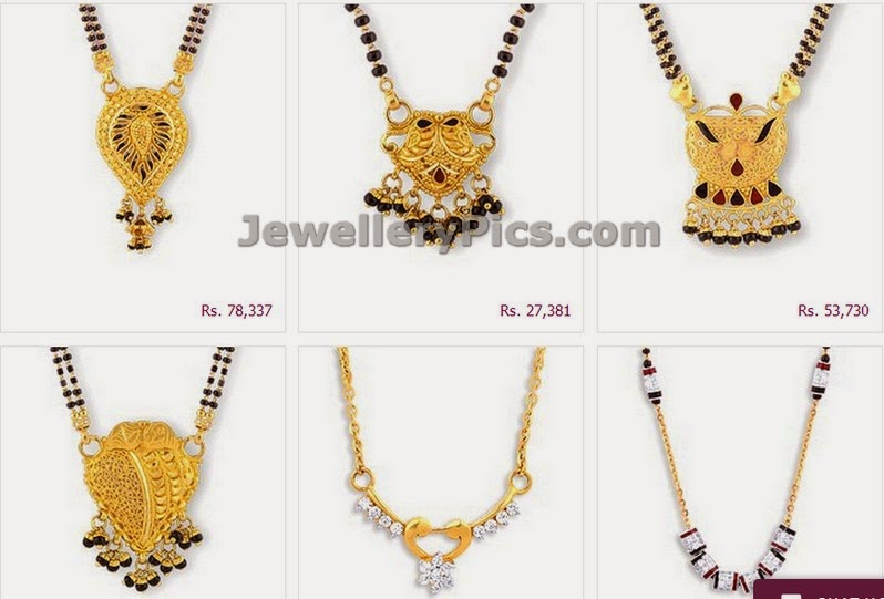jewellery design pictures: Short Mangalsutra designs in