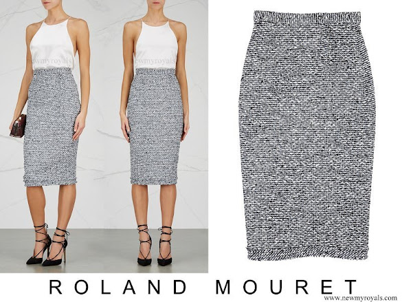 Queen Rania wore Roland Mouret Norley High waisted Tweed Pencil Skirt