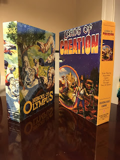 Two bookcase games: Heroes of Olympus and Lords of Creation.