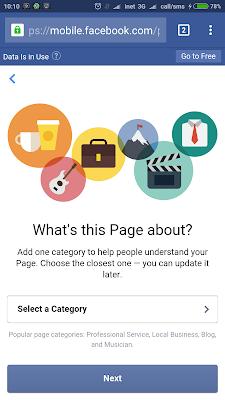 halaman pembuatan category fans page