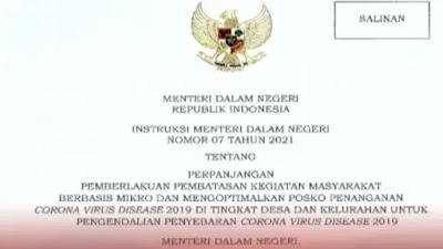 Mendagri Terbitkan Instruksi Mengenai Pelaksanaan PPKM Mikro di 20 Provinsi