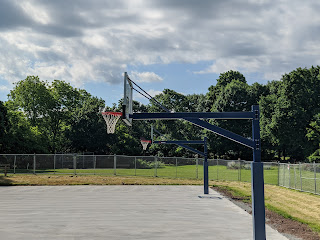 new basketball hoops installed at Fletcher Field