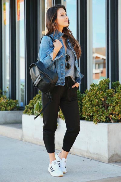 17 Fresh Fall Fashion Outfits To Update Your Closet In 2018 | Cotton T-Shirt+ Women's Denim Jacket+ Jogger Pants+ Adidas Flashback Shoes