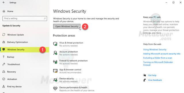 تعطيل برنامج الحماية فى ويندوز 10 نهائياً
