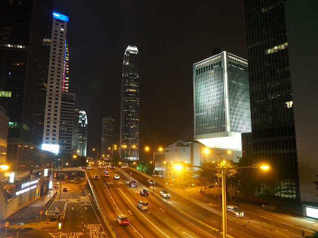 IFC and Central at night at Connaught Road, Admiralty, Hong Kong