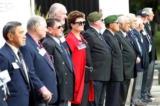 Memorial Parade at Civic Square, Hastings, part of the reunion of 1 Royal New Zealand Infantry Regiment (The Originals), 1RNZIR, Gurr Battalion 1963-1965. photograph