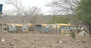 Na Paraíba, ônibus escolares abandonados são encontrados em terreno particular