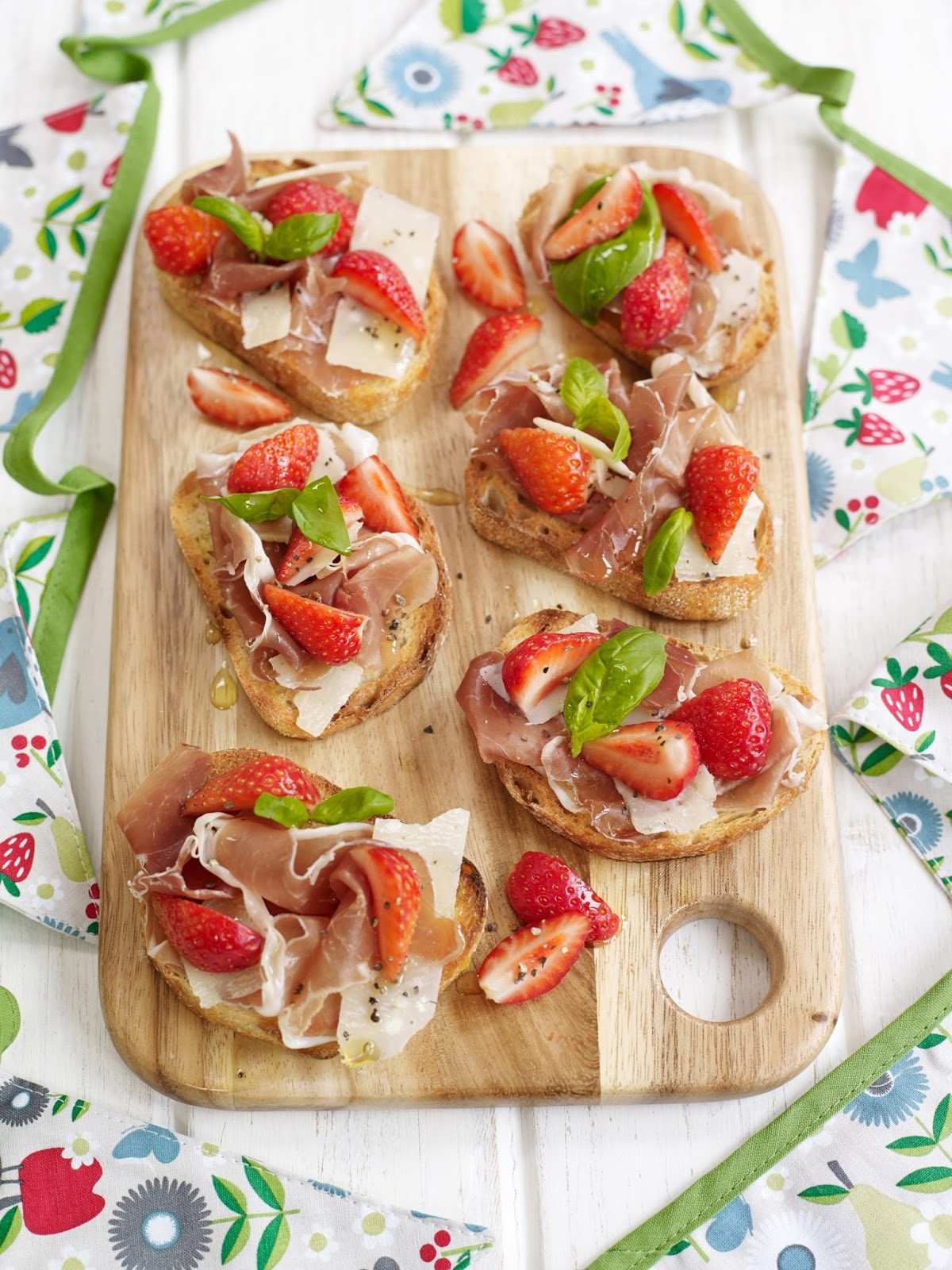BerryWorld Strawberry Parma Ham and Parmesan Crostini