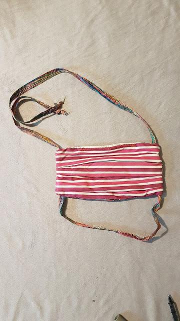 Pleated fabric mask with rainbow ties