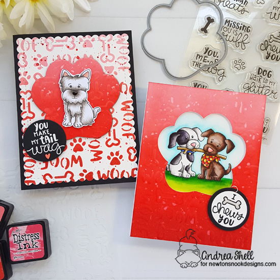 Adorable Puppy Cards by Andrea Shell | Terrific Terriers, Puppy Pals and Say Woof Stamp Sets and Woof Stencil by Newton's Nook Designs #newtonsnook #handmade