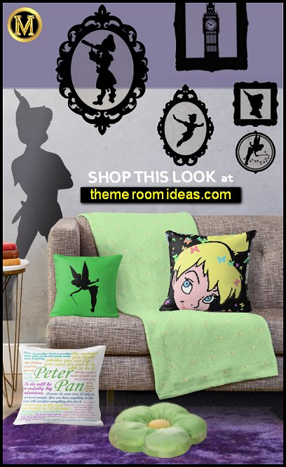 TINKERBELL DECOR peter pan wall decal stickers tinkerbell pillows tinkerbell bedding tink bedroom