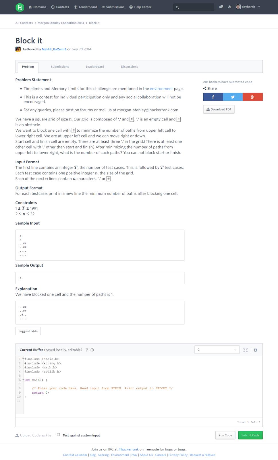 KnowCrazy com: Morgan Stanley Codeathon 2014 Hackerrank Challenges