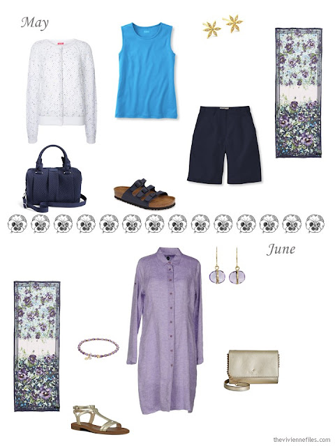 May and June outfits in purple, white, blue and navy